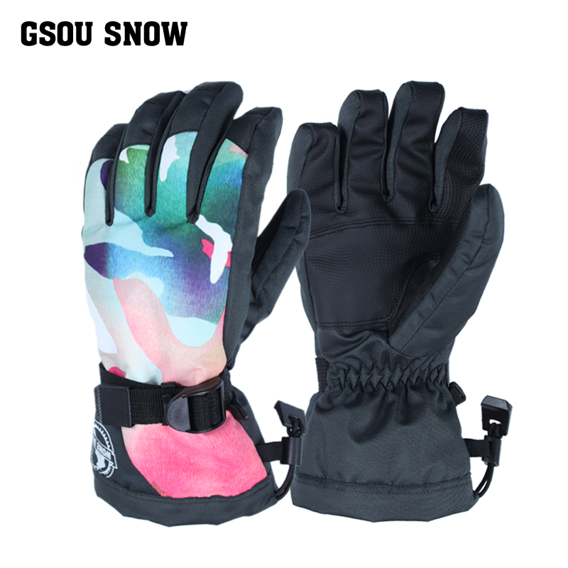 644b5d892 Gsou Snow Ski Gloves Women Waterproof Winter Snow Snowboard Bright Color  Motorcycle Riding Female Skiing Snowboarding Gloves