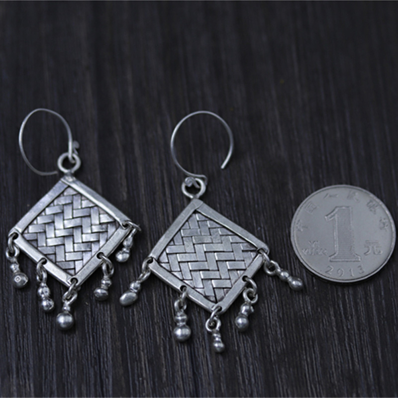 JINSE Fashion Jewelry Bohemian Braided Woven 925 Sterling Silver Beaded Tassel Drop Earrings for Women Pendientes 14 7G 30MM 47M in Drop Earrings from Jewelry Accessories