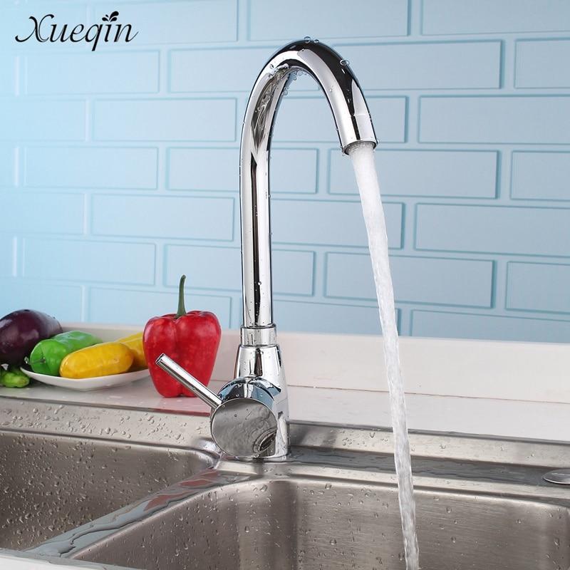 Xueqin Kitchen Basin Sink Mixer Tap Water Faucet Brass Chrome Single Cold Bathroom Bathtub Faucet Taps