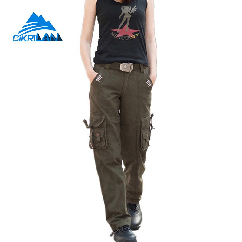 цены Camo Multi-pocket Army Combat Outdoor Hiking Trekking Tactical Pants Women Military Pantalones Mujer Camping Climbing Trousers
