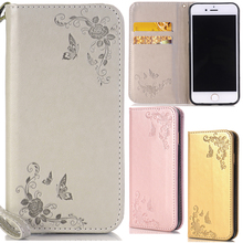 For Iphone 7 Plus Cute Cartoon Butterfly Flowers Leather Wallet Strap Flip Fundas Case For Apple Iphone7 7plus 7 Plus Cover Capa