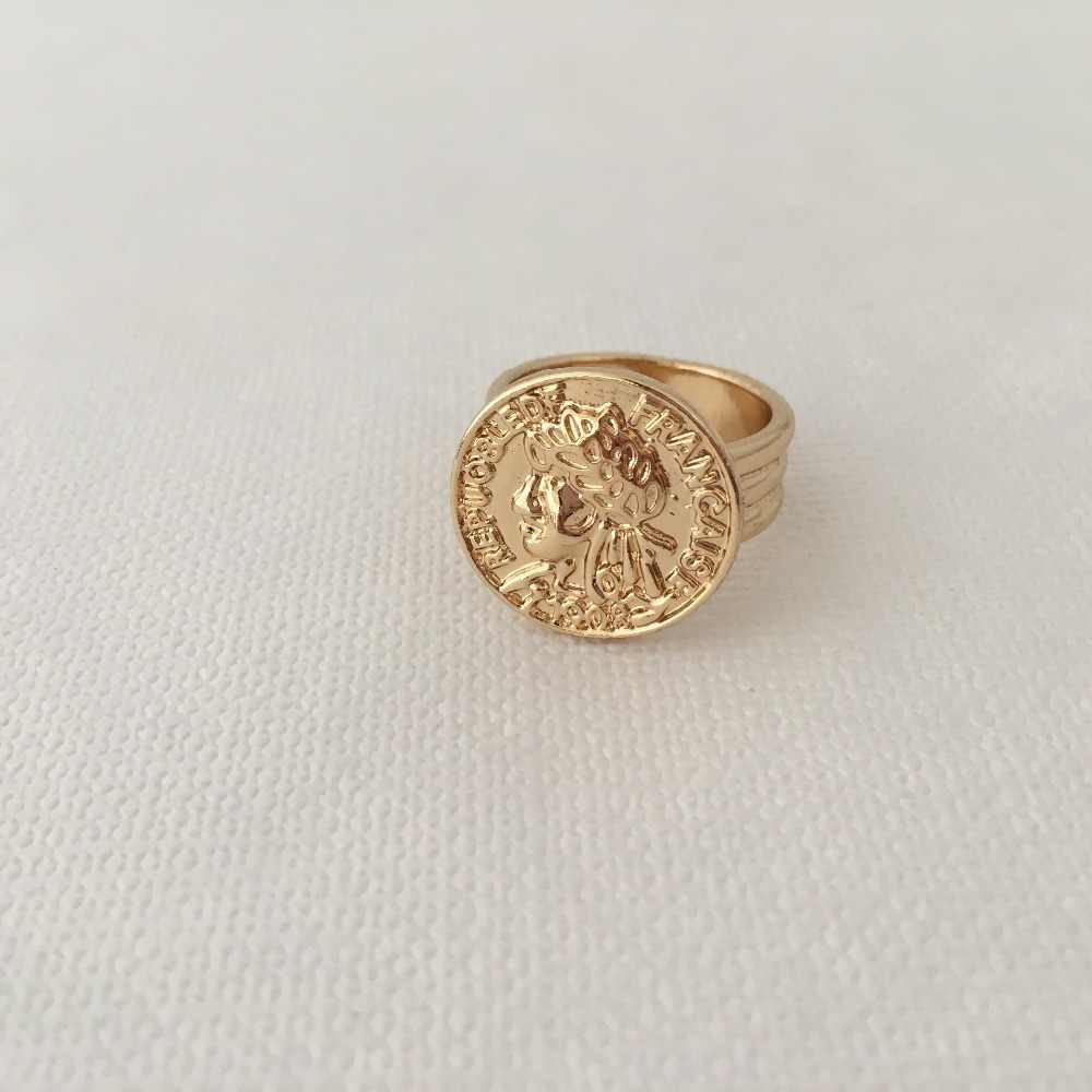 FASHION JEWELRY GOLD COLOR PLATING COIN FACE ENGRAVED SQUARE RING FOR WOMEN GIRL