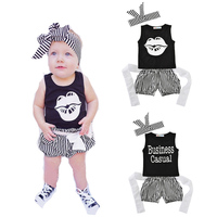 Baby Girls Clothes Summer 3pcs Clothing Set Infant Girls Outfits Letter Lips T Shirt Striped Shorts