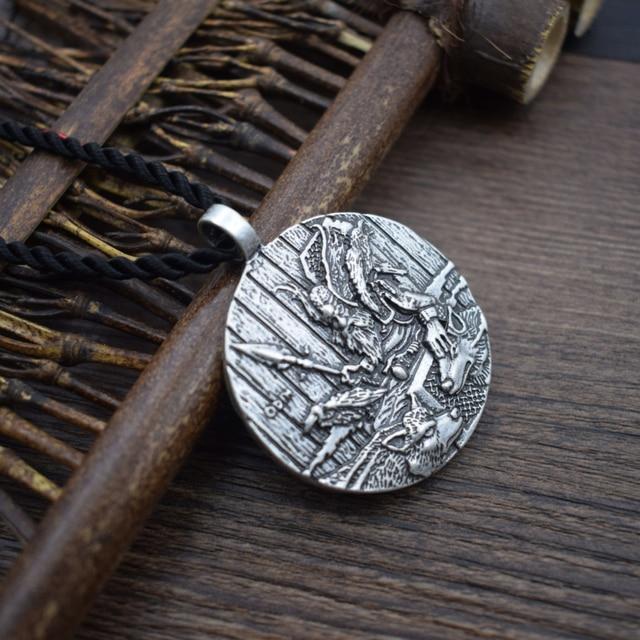 God Odin With Ravens And Wolf Pendant Necklaces Norse Odin Viking Jewelry Slavic Pendant Sanlan Original Jewelry 4