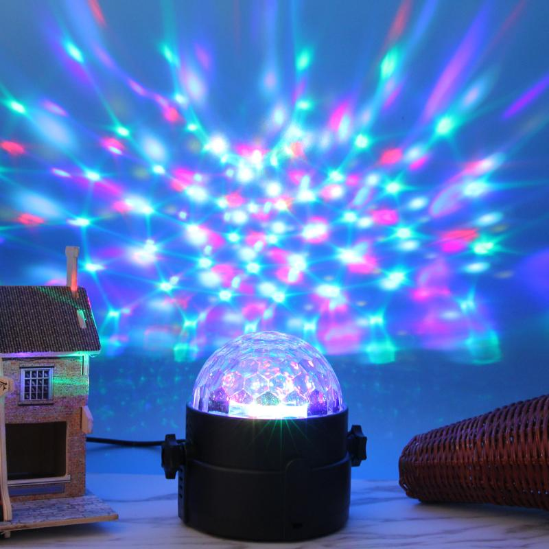 6 Colors DJ Lights USB Powered LED Flash Rhythm Laser Magic Ball Effect Stage Party Disco Car Atmosphere Light Decorative Lamp xy205 40lm blue light wind powered decorative led lamp for car silver 2 pcs