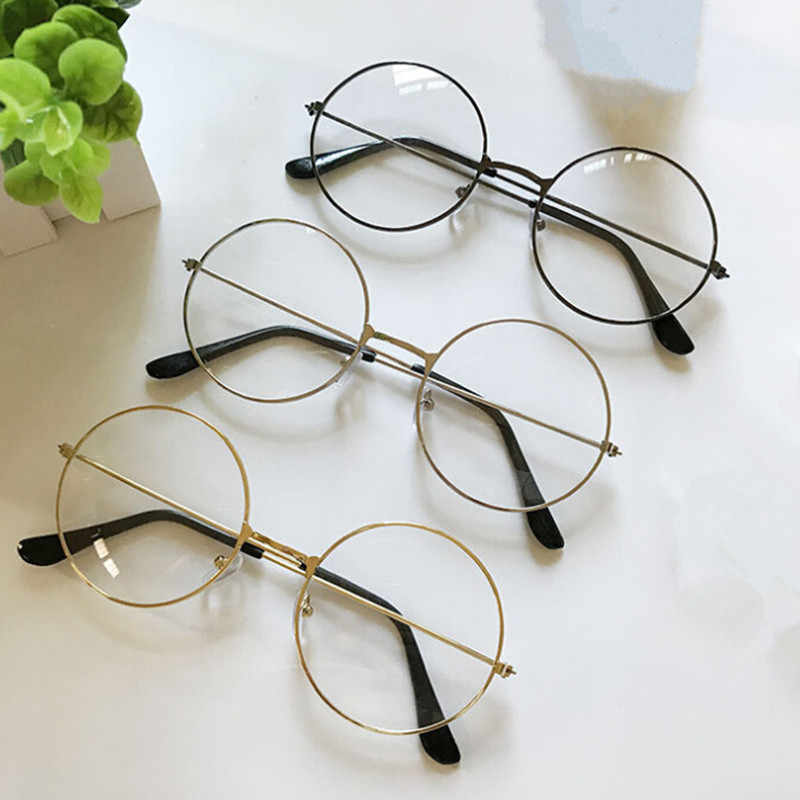 2019 Retro New Men Women Large Round Glasses Transparent Metal Frame Eyeglass Black Silver Gold Spectacles Eyeglasses 4 Colors