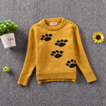 Hot Sale 2016 Pure Cotton Winter Casual Long Sleeve Korean Style Toddler Kids Fashion O-neck Cartoon Design Knitted Sweater