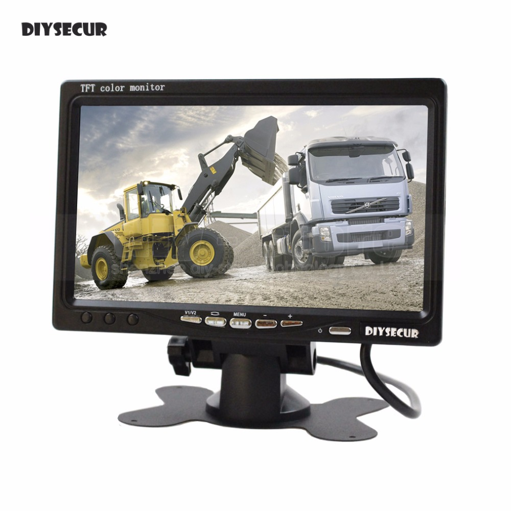 DIYSECUR DC12V-24V 7inch TFT LCD Display Rear View Car Monitor With 2 Video Input for Rear View Camera Surveillance Camera DVD
