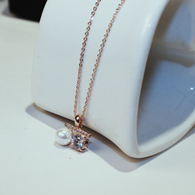 CX-Shirling Real Rose Gold Plated Personality Quality Pealy+Carat Cubic Zirconia Pendant Necklace