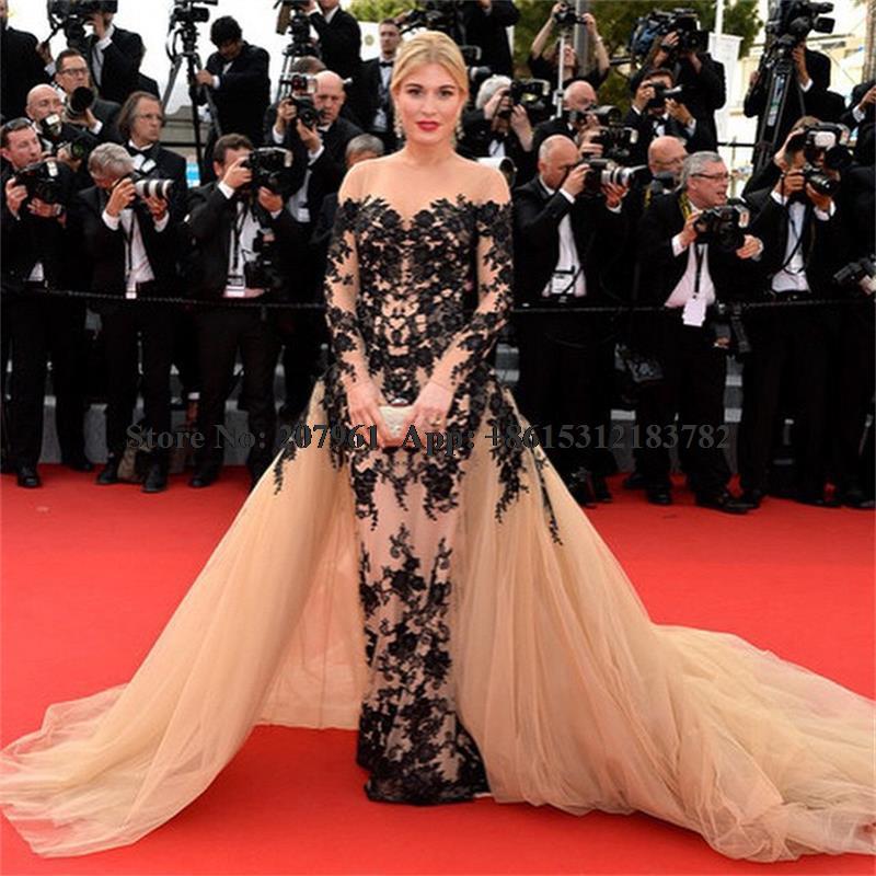 Red Carpet Dresses 2017 Celebrity Dresses Tulle with Black Lace ... 52b207c3982d