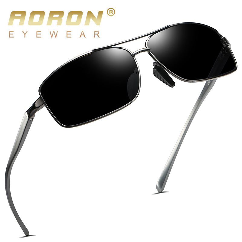 AORON Mens Polarized Sunglasses Sports Rectangle Glasses Aluminum Magnesium Frame UV400 Sun Glasses Male Eyewear