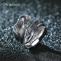 YinShiJi Retro 100 925 Sterling Silver Rings For Women And Men Vintage Thai Silver Rings Jewelry