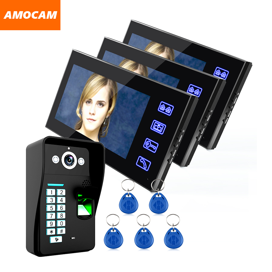 Touch Key 7 LCD Video Door Phone Intercom Doorbell System Fingerprint Access Control Door bell Doorphone Home Security Kits biometric face and fingerprint access controller tcp ip zk multibio700 facial time attendance and door security control system