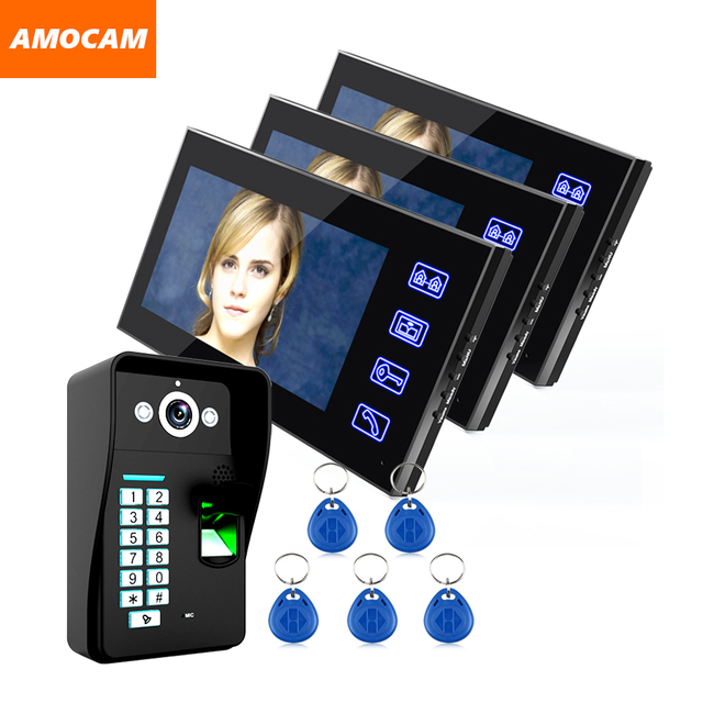"""Touch Key 7"""" LCD  Video Door Phone Intercom Doorbell System Fingerprint Access Control Door bell Doorphone Home Security Kits"""