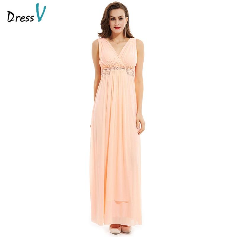 Discount Designer Evening Dresses: Dressv Peal Pink Long Evening Dress V Neck Crystal 2017