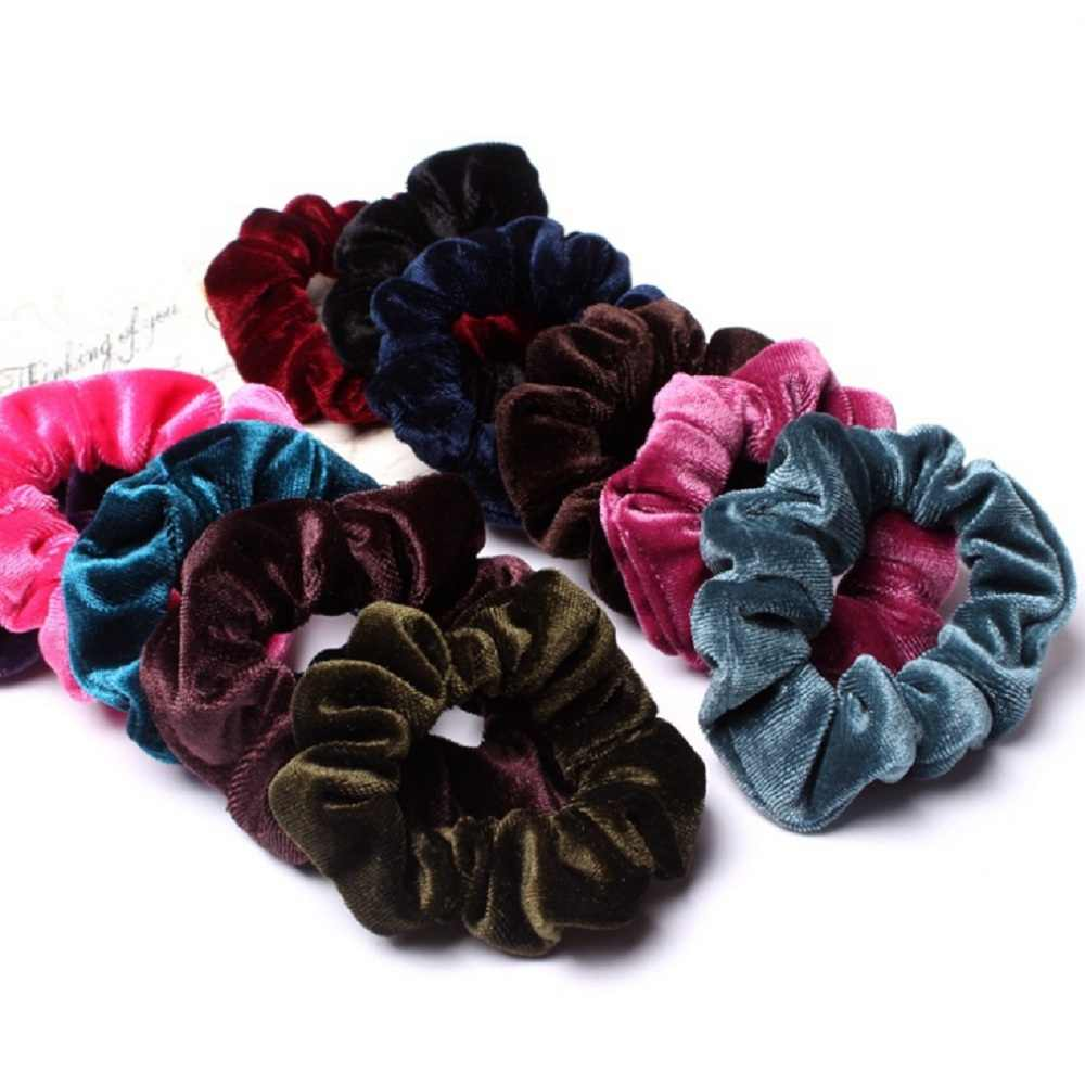 New 1PC Women Elegant Velvet Solid Elastic Ponytail Holder Scrunchies Hair Rubber Band Braider Headband Lady Hair Styling Tools