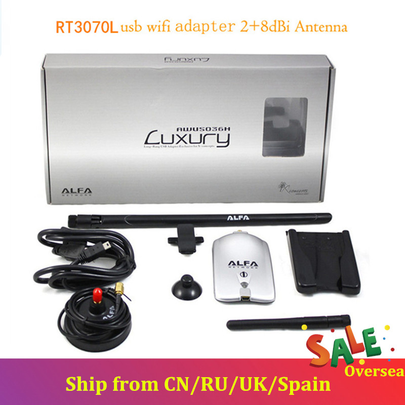 Alfa KuWFi AWUS036NH RT3070L Alta Potência USB Adaptador Sem Fio Wi-fi 150Mbps Adaptador USB Wifi Alfa Luxo Com 8dBi + 2dBi Antenas