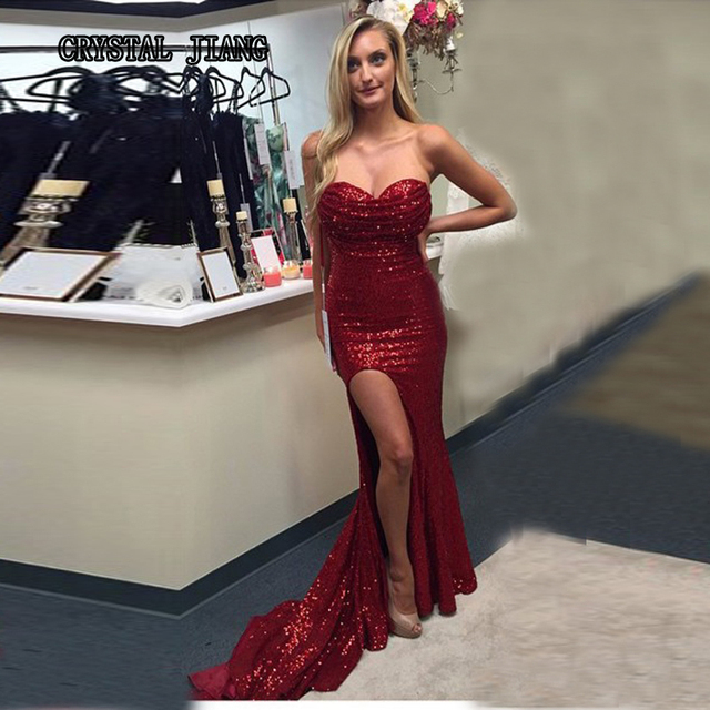 8763361c Red Sequins Long Mermaid Prom Dresses 2017 Jessica Rabbit High Side Split  Sweetheart Sleeveless Court Trian Party Gown