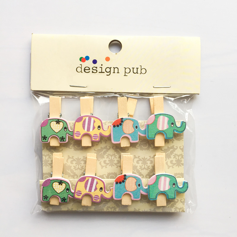 8 Pcs /Pack Kawaii Elephant Wooden Paper Clip Bookmark For Album With Rope Message Stickers Stationery