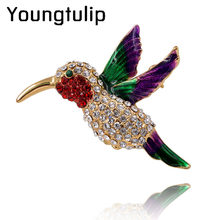 Young Tulip 2019 New Style Vivid Crystals Bird Brooches For Women Delicate Rhinestone Pins Bright Jewelry Accessory Female Gifts(China)