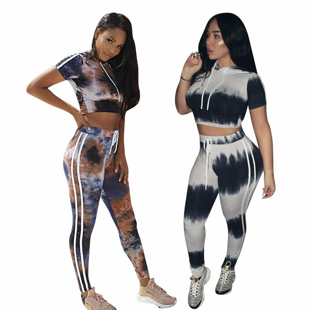 c1a86c56d7a Print Fashion Women 2 Piece Set Crop Top and Pants Sexy Summer Outfits Club Tie  Dye Matching Sets Tracksuit Women L5192