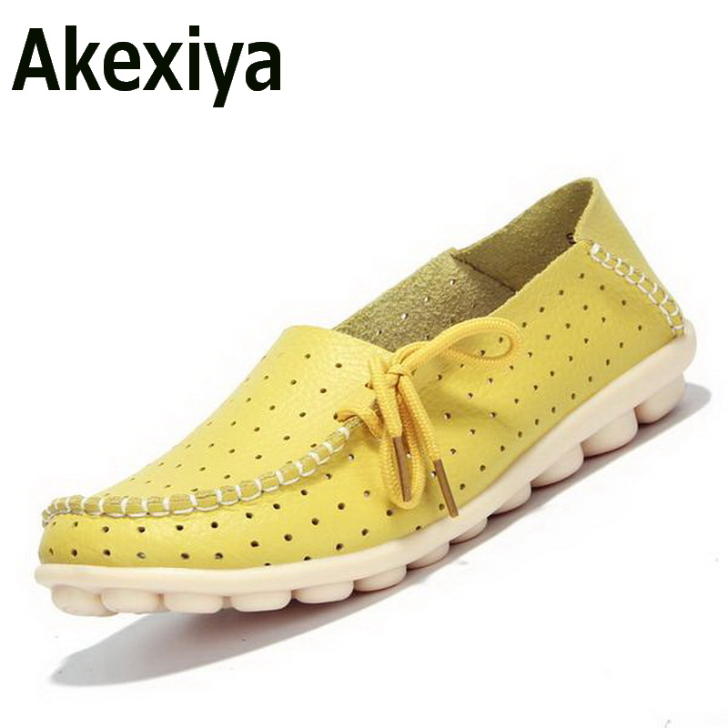 Akexiya 2017 Summer Sweet Bowtie Women Genuine Leather Flats Ballet Shoes Woman Hollow Out White Moccasins Soft Mother Shoes 2017 metal head women shoes genuine leather oxford shoes for women flats shoes woman moccasins ballet flats zapatos mujer z464