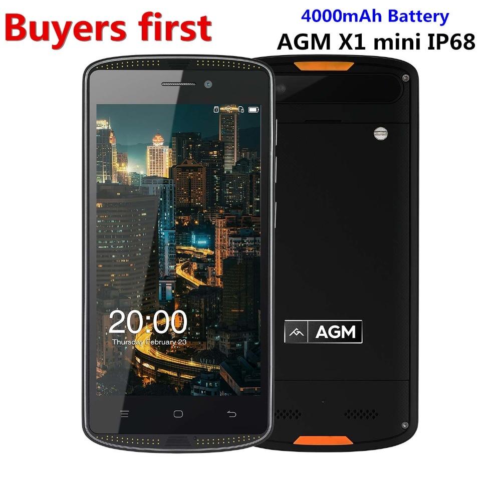 "Original AGM X1 Mini IP68 Waterproof Mobile phone 5.0"" HD 2GB RAM 16GB ROM Qualcomm MSM8909 Quad Core 4G LTE 4000mAh smartphone"