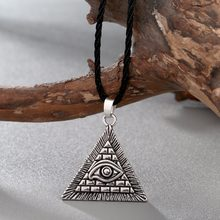 Chengxun egito egito pirâmide tudo-vendo mal olho charme pingente masculino colar triângulo geométrico collier masculino