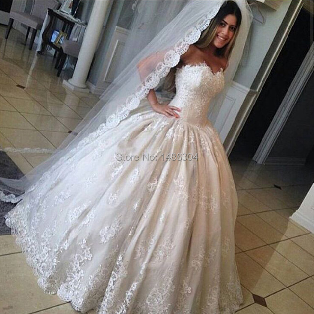 Aliexpress.com : Buy Lace Ball Gown Beige Wedding Dress Sweetheart ...