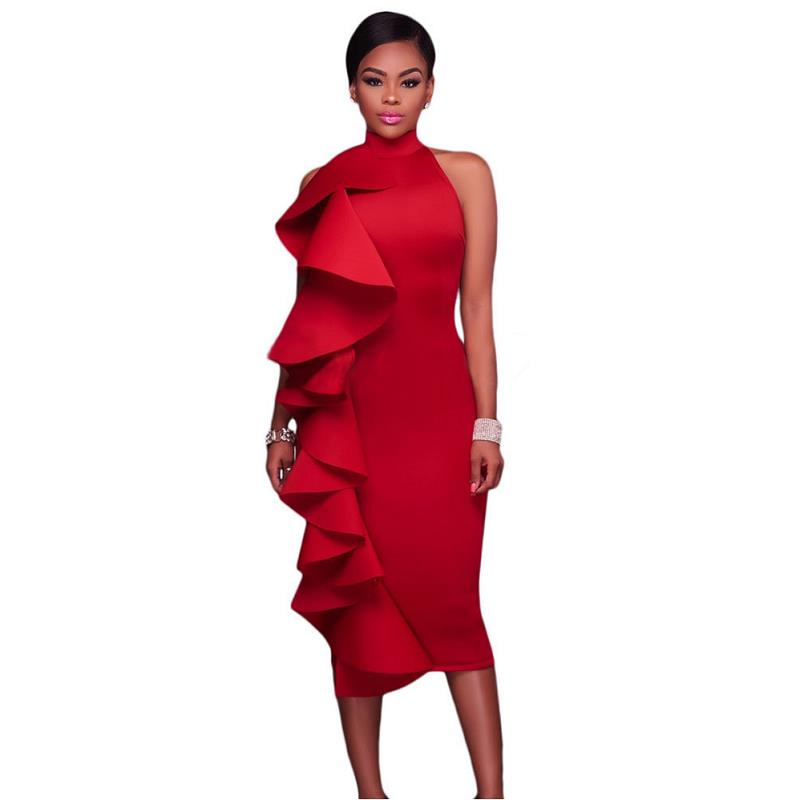 ADEWEL 2017 Women Big Ruffles Midi Elegant Dress Sexy Open Back Bodycon Party Dress High Neck Vintage Pencil Dress 11
