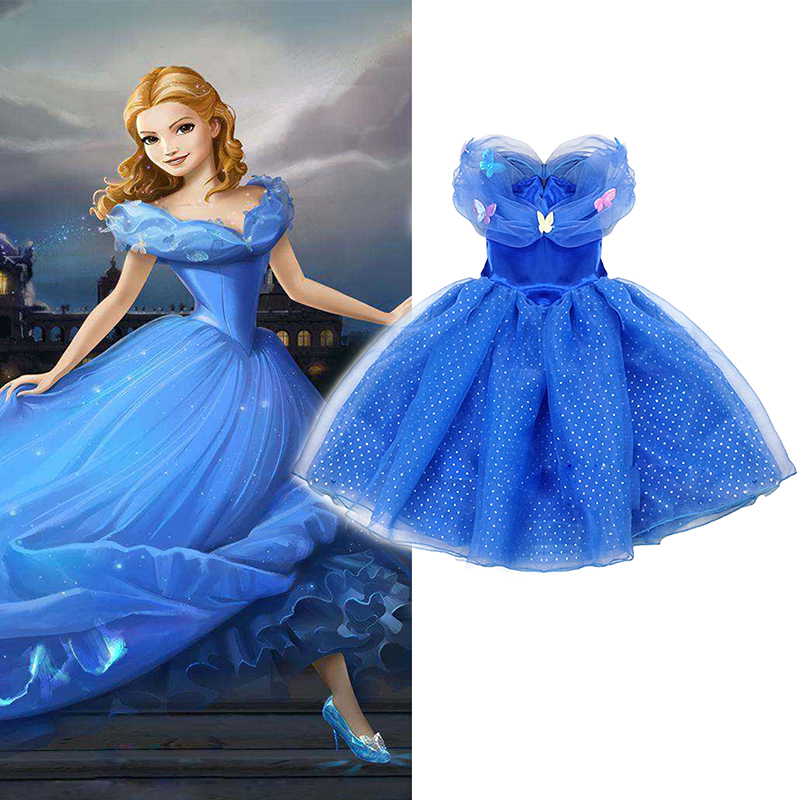 Princess Cinderella Girls Dress Kids Butterflies Sleeveless Party Cosplay Costume Children Birthday Pageant Fancy Wedding Dress kids girl party dresses 2018 birthday dress 3 12y teen girls princess costume sleeveless wedding dress for children clothing