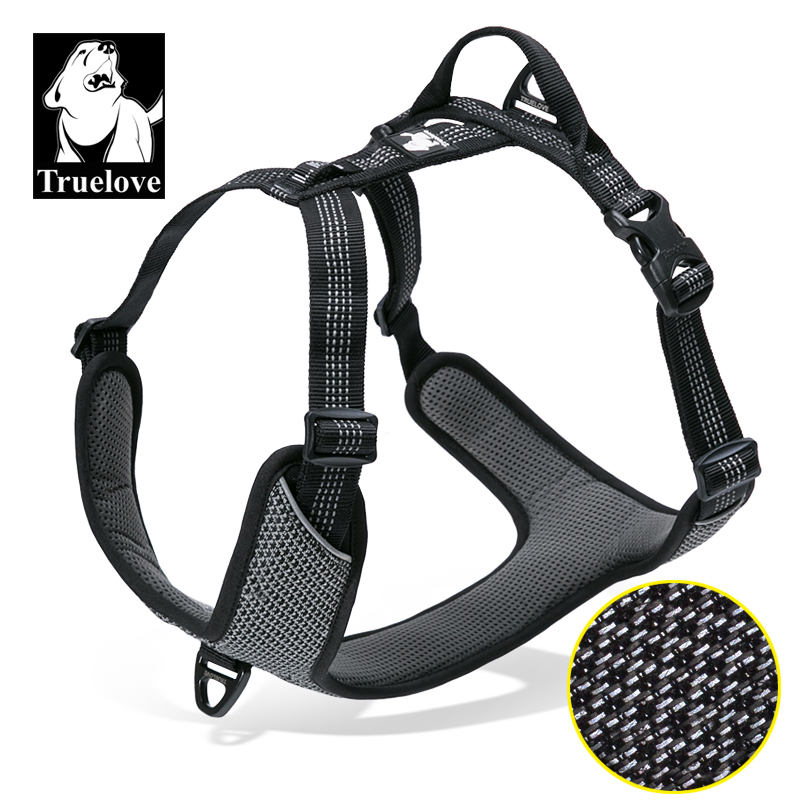 Truelove Padded Reflective Dog Pet Harness Small Large Soft Walk Adjustable With Handle  For Seat Belt 5 Sizes Pet Supplies