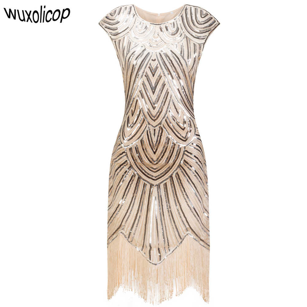Vintage 1920s Flapper Great Gatsby Dress O-Neck Cap Sleeve Sequin Fringe Party Midi Dress Vestidos Verano Art Deco Women Dress