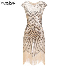 1aa9a3d4763c Vintage 1920s Flapper Great Gatsby Dress O-Neck Cap Sleeve Sequin Fringe  Party Midi Dress