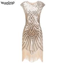 Vintage 1920s Flapper Great Gatsby Dress O-Neck Cap Sleeve Sequin Fringe Party Midi Dress 2018 Summer Women Vestido De Festa