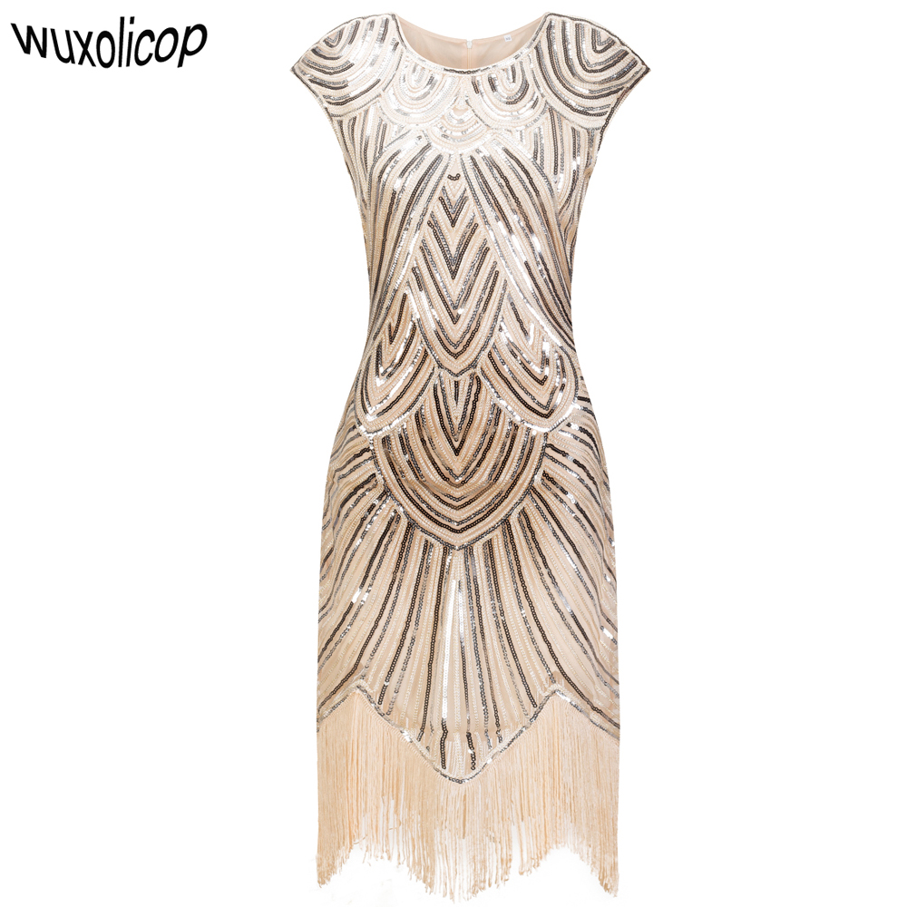 Vintage 1920s Flapper Great Gatsby Dress O-neck Cap Sleeve Sequin Fringe Party Midi Dress Vestidos Verano Summer Dress