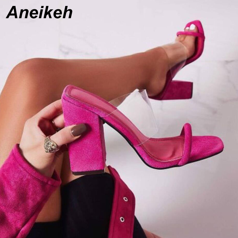 Aneikeh Novelty Women PVC Sandals 2019 Fashion Transparent Square High Heeled Women Sexy Square Toe Slippers Pumps Green 35-40Aneikeh Novelty Women PVC Sandals 2019 Fashion Transparent Square High Heeled Women Sexy Square Toe Slippers Pumps Green 35-40