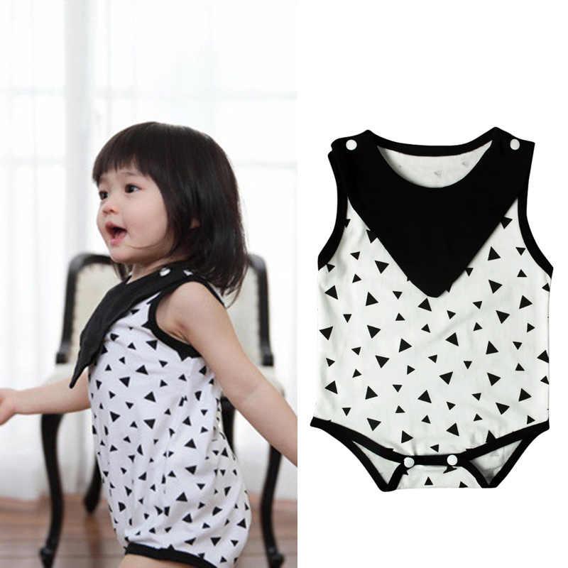2017 г. летняя одежда для новорожденных девочек черный треугольный принт с круглым вырезом боди для девочек, одежда комбинезон, одежда для детей от 0 до 24 месяцев