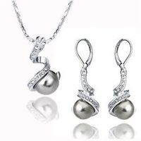 FREE shipping>>>>>Jewelry wedding Set white gold grey shell Pearl Necklace and Earring