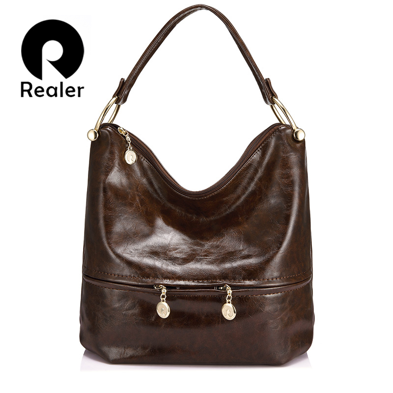 REALER luxury women handbags high quality female shoulder bag PU leather ladies large totes hobo zipper fashion top-handle bags famous brand women handbags pu leather bag women tote high quality ladies shoulder bags large capacity ladies top handle bags