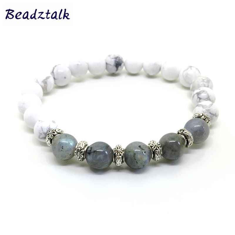 Beadztalk women bracelet Natural Labradorite Stone  8 mm Beads Strechy White Howlite Bangle Women Girls Gift Jewelry