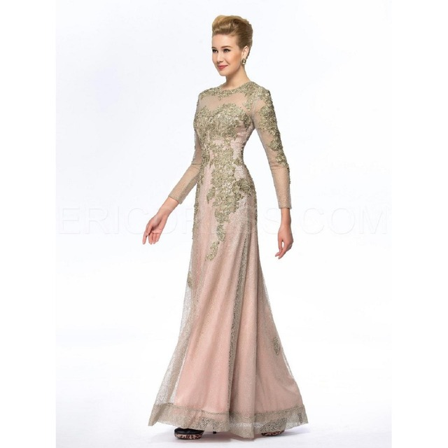 5cda79cb0f US $168.99 |2017 Elegant New Two Piece Sheath Lace Long Sleeve With Jacket  Floor Length Gold Formal Mother Of The Bride Dresses Plus Size-in Mother of  ...