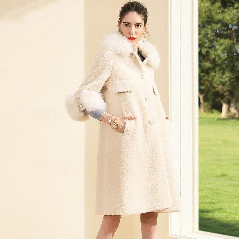 Picture Mouton Sept Long De Luxe Femmes Haute En Automne Veste Same Peau Élégant Fourrure Manteau Blanc Qualité As Hiver trimestre Manches orxBedC