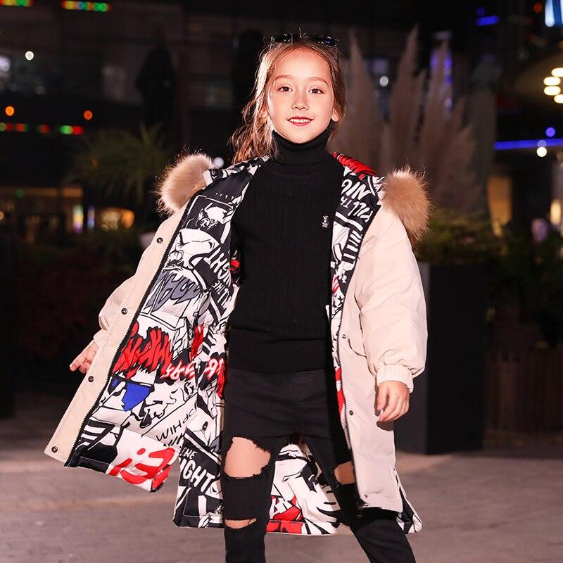 HSSCZL meisjes duck down jassen 2019 winter dikker jas grote meisje hooded natuurlijke kinderen bovenkleding jas kinderkleding 6 14 - 6