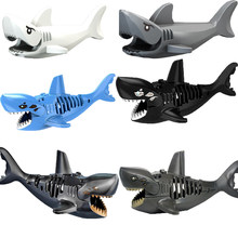 1Pcs Shark Blocks Shark Figure Creative Animal Building Blocks Compatible Legoingly Shark Toy Plastic Toys for Children(China)