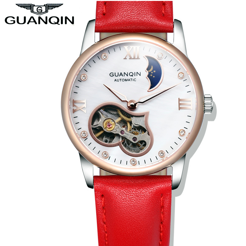 font b Women b font Watches GUANQIN Brand Luxury Fashion Felojes Gold Leather Moon Phase