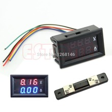 Dual LED Digital Voltmeter Ammeter Amp Volt Meter + Current Shunt DC 100V 50A #L057# new hot