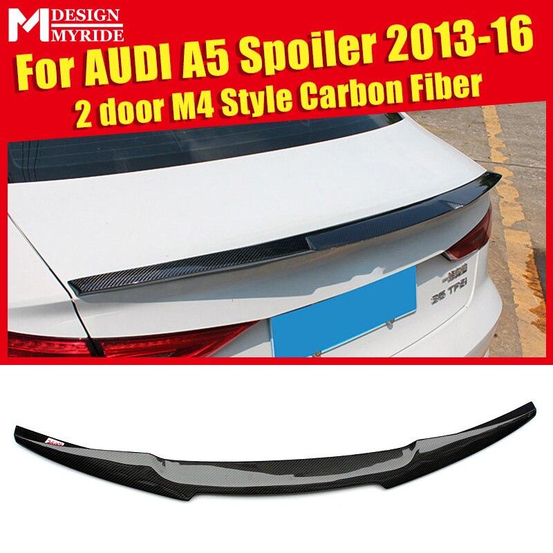 M4 укладки углеродного волокна Автогонки задний багажник крыла Спойлер для Audi A5 A5Q купе 2 двери хвост крышка багажника для губ 13 16