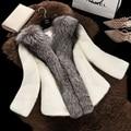 Осень/зима новый MS мачеха подражали норковая шуба короткая шерсть пальто меховой воротник лиса