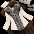 autumn/winter new ms coltsfoot imitated mink fur coat short fur coat fox fur collar